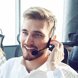Customer care personnel talking over phone