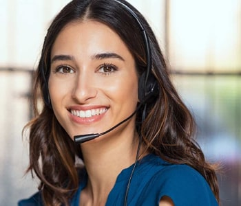 Woman with headset working