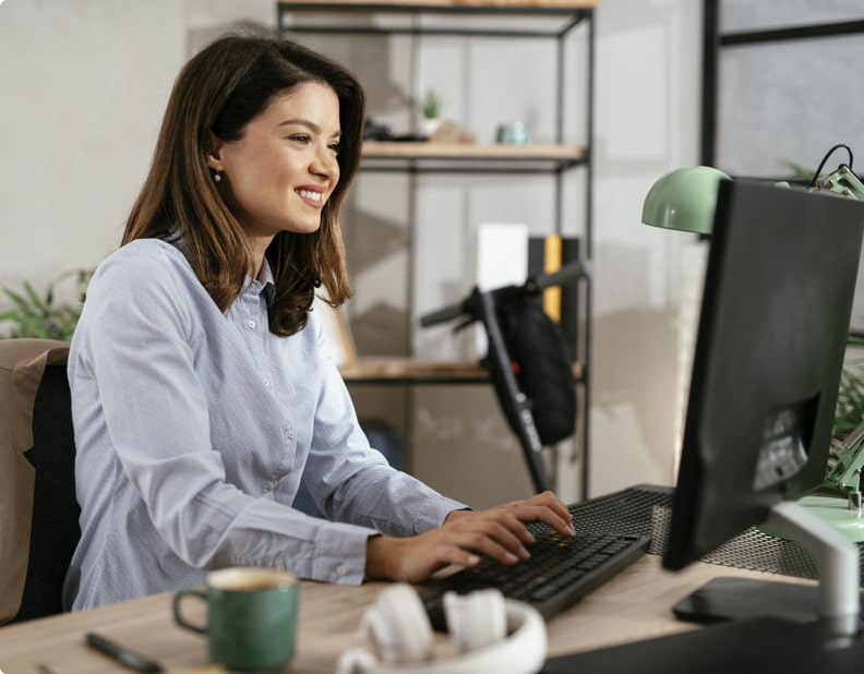 Lady working on computer using wifi