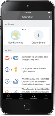 Homelife mobile app showing a good morning scene and rules like turning on lights at sunset