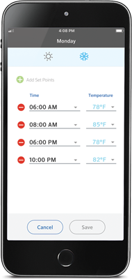 Homelife mobile app showing the days of the week and different temperatures at different times
