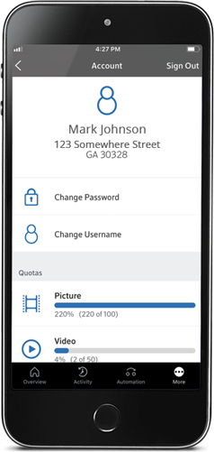 Homelife mobile app contacts screen showing the name, address, and ability to change username and password