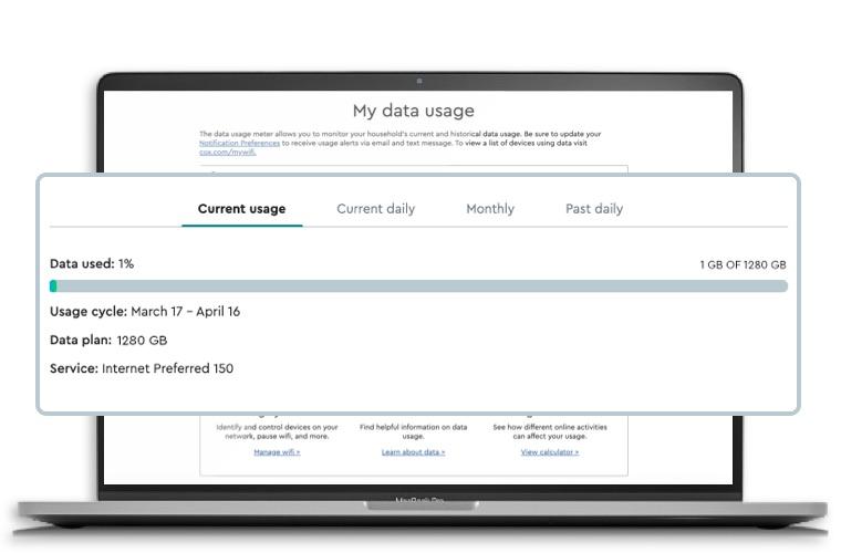 Cox Data usage widget on laptop
