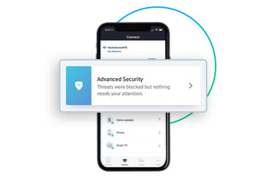 Mobile device with Panoramic Wifi app Advanced Security tab open on screen