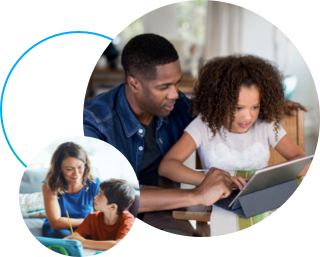 Mom sitting on couch with son and father and daughter sitting working on homework with tablet in circular bubbles