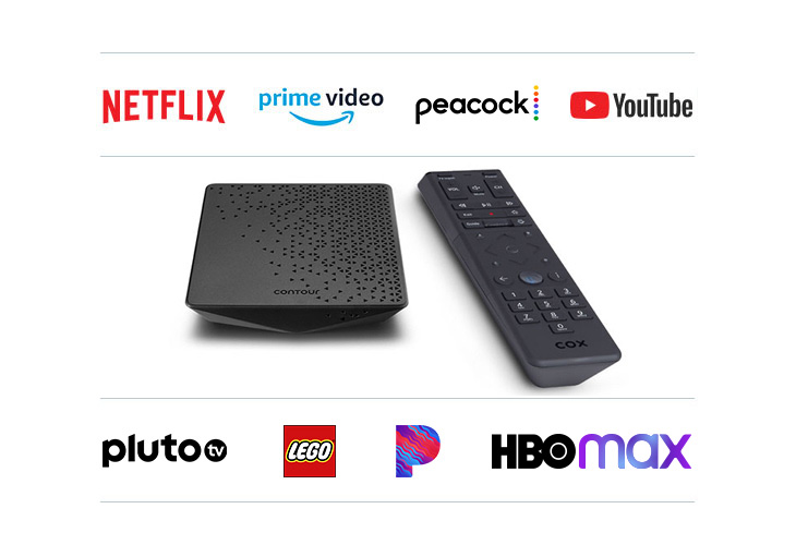 Contour Stream Player wireless equipment with remote with Netflix, primevideo, YouTube and peacock logos