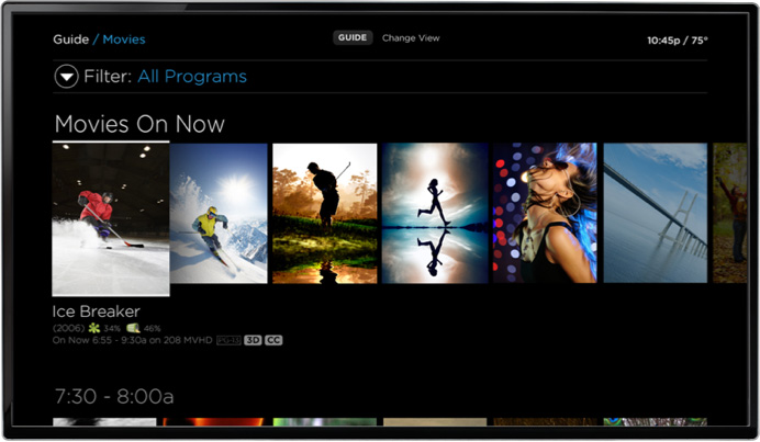 TV with streaming Contour TV app and movies on now featured on screen