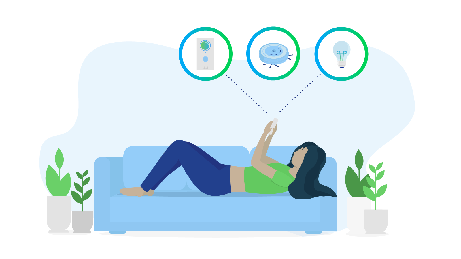 Woman sets up smart home routines on her mobile device