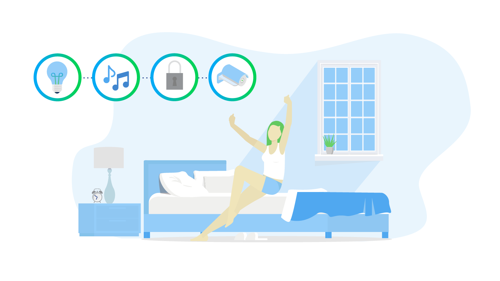 Smart Home Automation woman sitting on bed