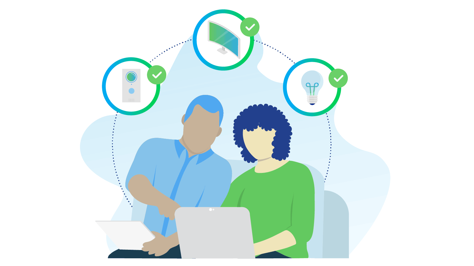 Couple setting up smart routines for electronics