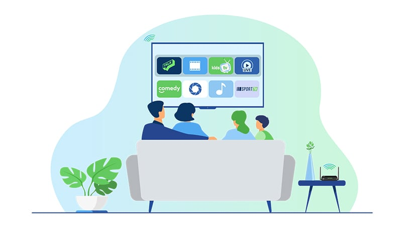Family watching smart tv