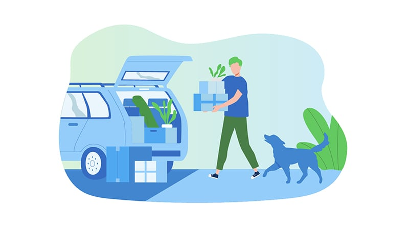 Moving - Loading car with pet