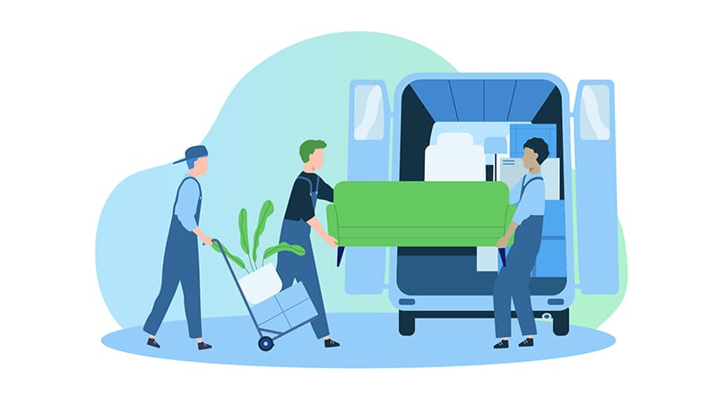 Moving - Loading couch into moving van