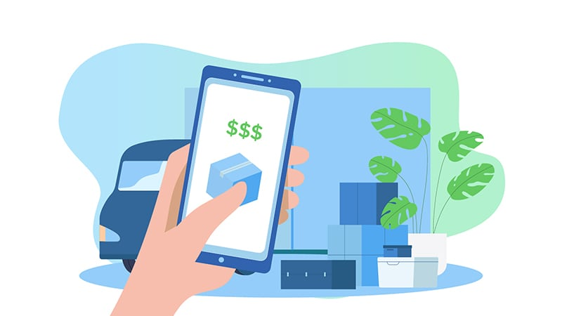 Moving - Person holding phone showing money savings