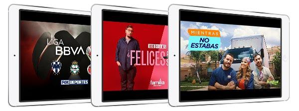 Tres pantallas de tabletsconRiveras, Walking Dead y Seguridad De Frontera de NBC Universo