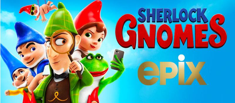 Sherlock Gnomes en EPIX con el nuevo logo de EPIX