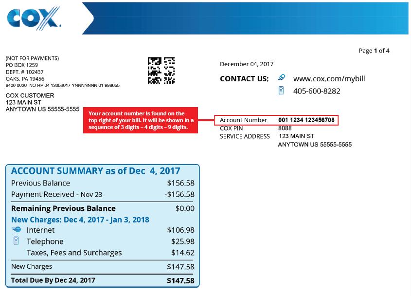 Ejemplo de número de cuenta en el resumen de facturación de Cox
