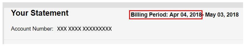 Ejemplo de fecha de instalación del resumen de facturaciónde Cox