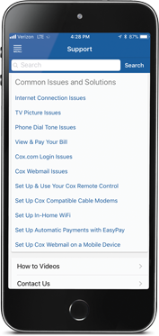 Image: Cox Connect App Support Screen Showing Common Solutions