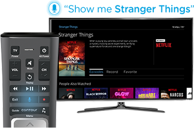 Image: Cox Contour TV with a Voice Remote and a Command for Stranger Things on the Netflix app